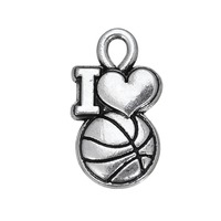Wholesale Antique Silver Plating I Love Basketball DIY Bracelets Sports Charm