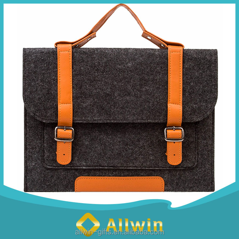 Dark Gray 14 Inch Laptop Notebook Messenger Bag felt laptop bag with leather handle and Strap