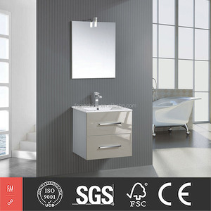 Small House Furniture Beige Bathroom Vanity with Lighted Mirrors