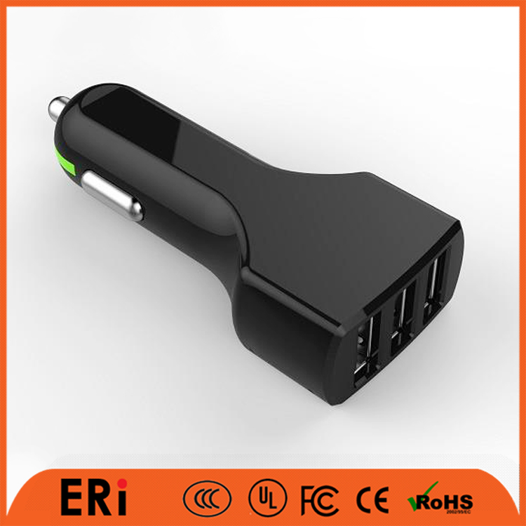 Rohs CE bulk type c mini battery 3 multi port usb car charger cell phone