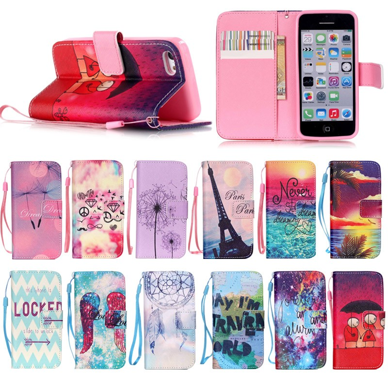 Fancy Colorful soft tpu + PU leather cover Case for iphone 5C, for iphone 5C leather case with Hand Strap