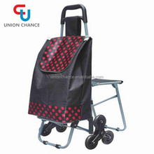 600D Rod Car Shopping Trolley Bag With Wheels Wholesale Shopping Cart With Chair