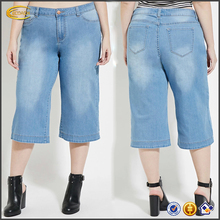 Ecoach Wholesale OEM latest popular jeans women hot summer denim jeans light blue plus size Denim Culottes for fat women 2016