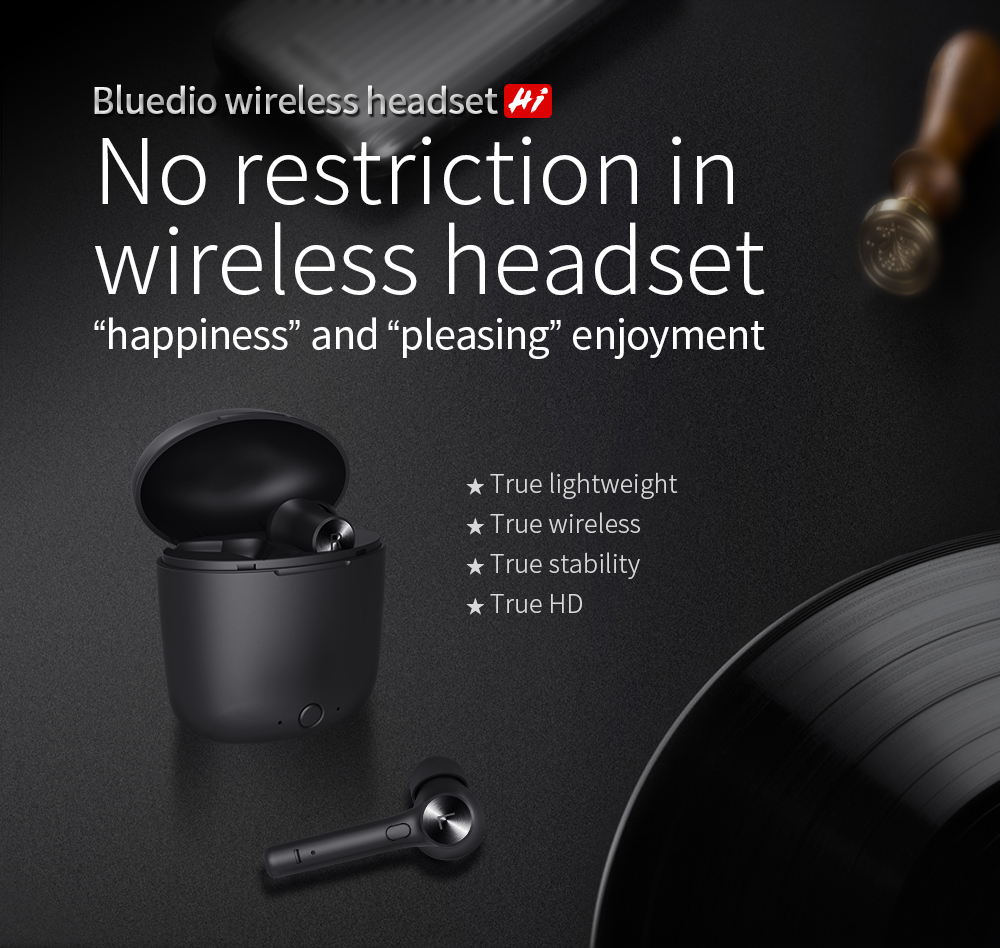 Bluedio Hi Bluetooth Earphone TWS 5.0 True Wireless Earbuds with Charging Box Built-in Microphone
