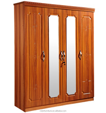 wooden panel type MDF or particle board beech color with middle mirror 4 doors PVC module press wardrobe