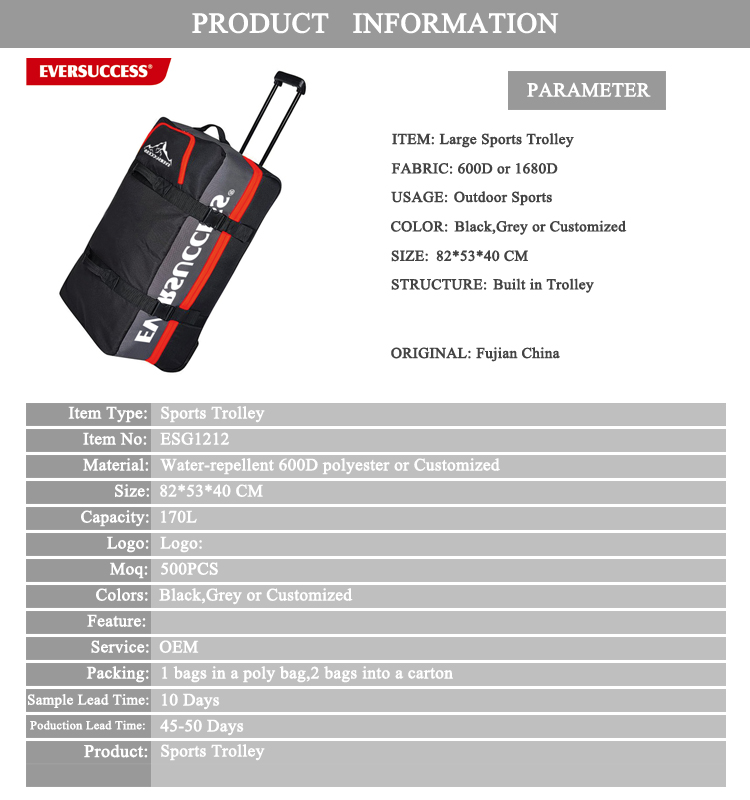New Design Heavy Duty Large capacity Soft Trolley Bag for Sports With Built in Trolley