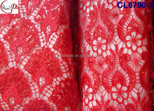 Top Fashion March Hot Sale Beautiful Embroidery French lace With Holes ,African Popular Reasonable 100 % Red French guipure lace