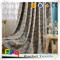 Grey color leave floral pattern printed fabric curtains in living room/ window 100% polyester