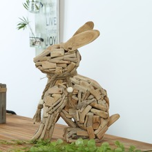Handcrafted Beach Driftwood Animals Craft, Driftwood Rabbit Intriguing Home Decor