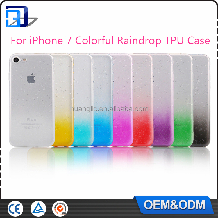 Fashion design MOQ=20pcs flashing sublimation color raindrop back cover soft tpu phone case for iPhone 7