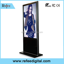 55 inch LCD advertising monitors, high sensitive IR touch screen floor stand digital signage