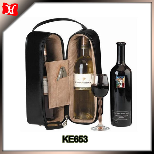 portable Black Leather Double Wine Travel Case Bag