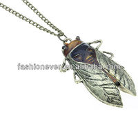 HUGE BUG Cicada Beetle Insect Pendant Copper Burnt Gold Tone Chain Necklace