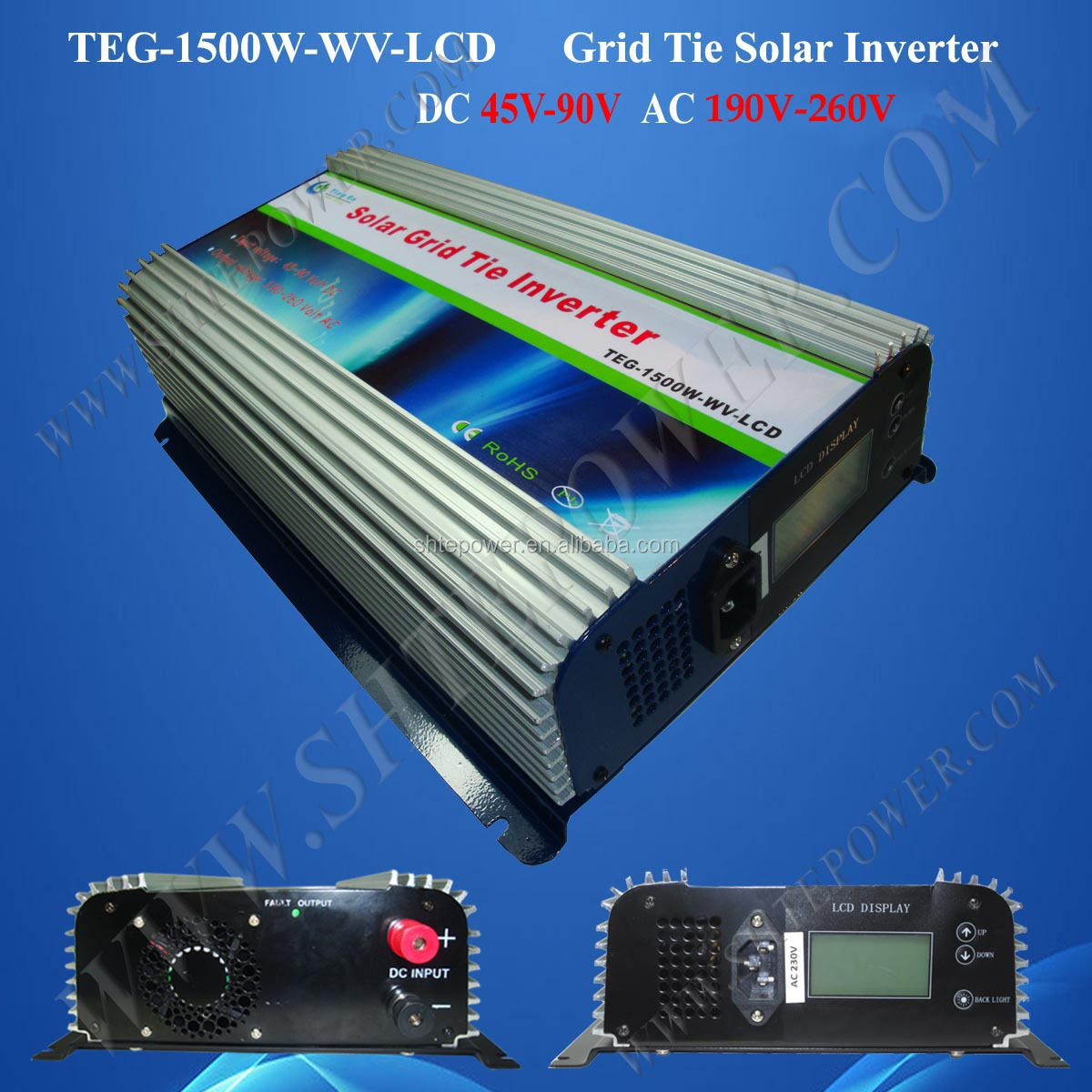 1500w 60v 240v grid tie power inverter for solar system with lcd display