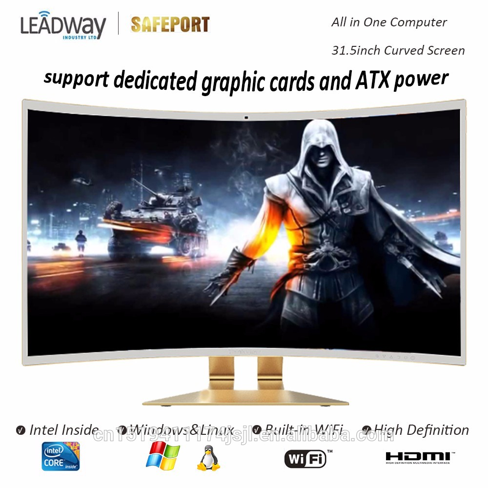 32inch Curved Series All in one pc support ATX power and dedicated graphic card desktop i7