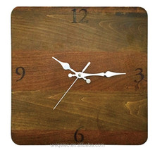 Square MDF wood home decorations wall clock