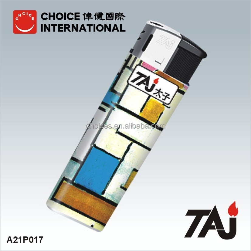 TAJ custom lighters no minimum electronic plastic disposable bic lighter with Chinese Painting Designs