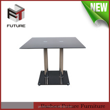 cheap modern metal leg glass top indian dining table