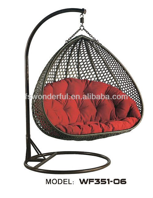 WF351-06 garden black rattan double swing