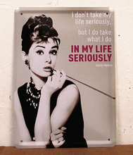 Audrey Hepburn tin Sign Bar pub home Wall Decor Decorative painting Retro Metal Art Poster