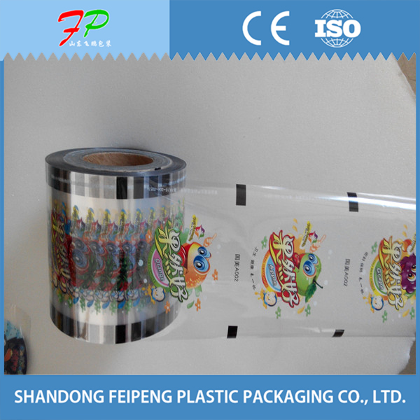 plastic peelable printed bubble tea bowl lid sealing film