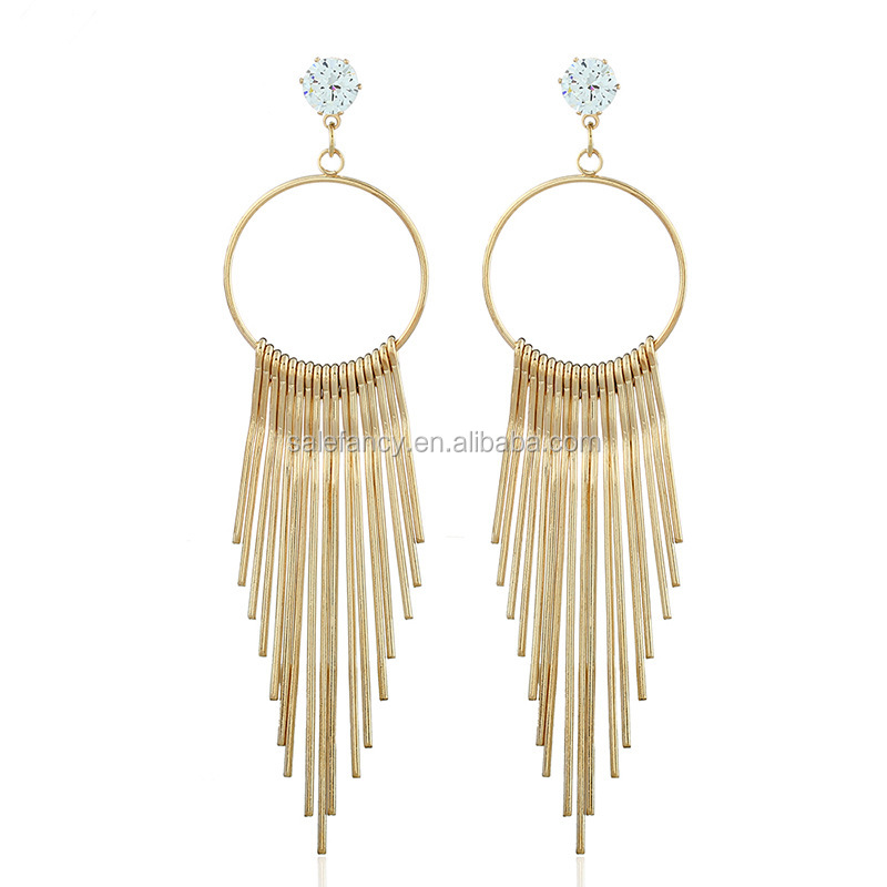 European fashion women jewelry metal strips tassel earrings QJE-0006