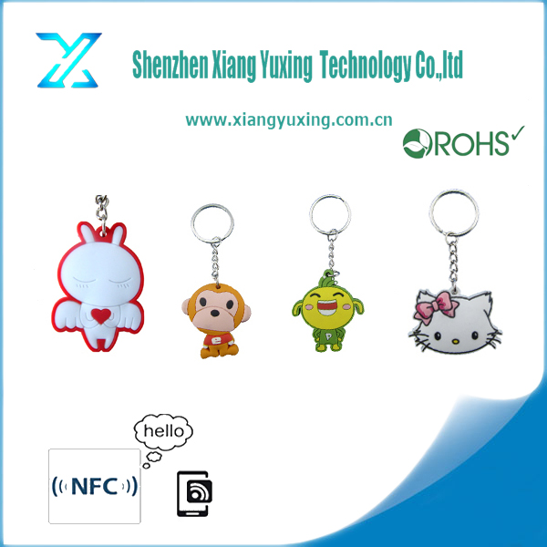 Custom silicone nfc rfid key fob / keyring with various shape