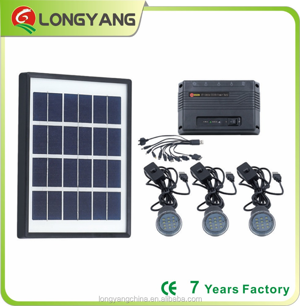 3W LED solar home lighting kit with power bank