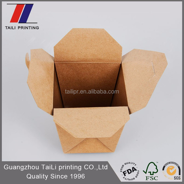 Biodegradable disposable food box takeaway brown food noodle boxes malaysia