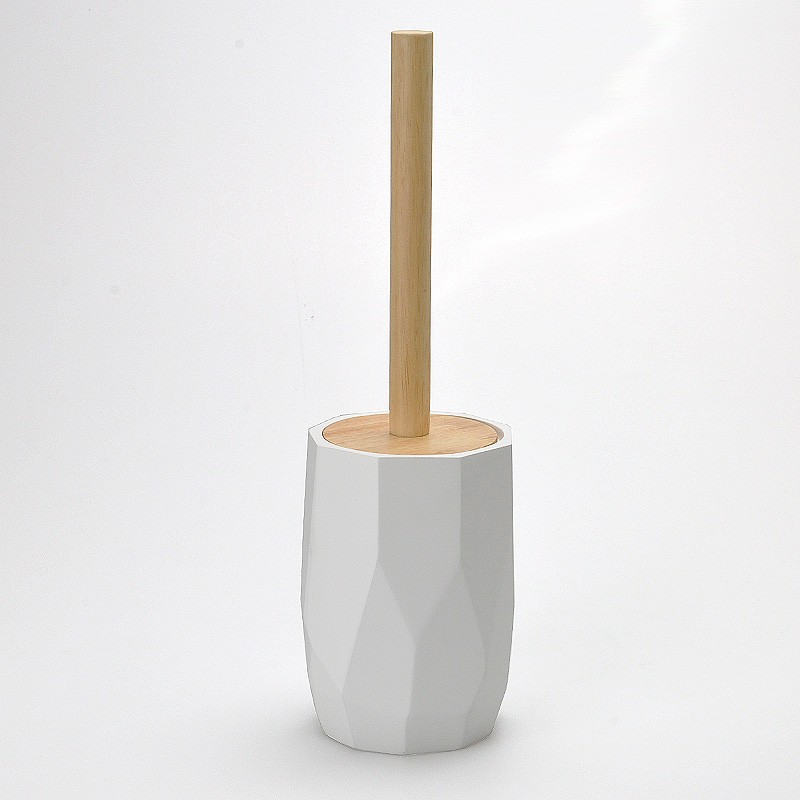 In Stock White Round Cylinder Polyresin Toilet Brush Holder