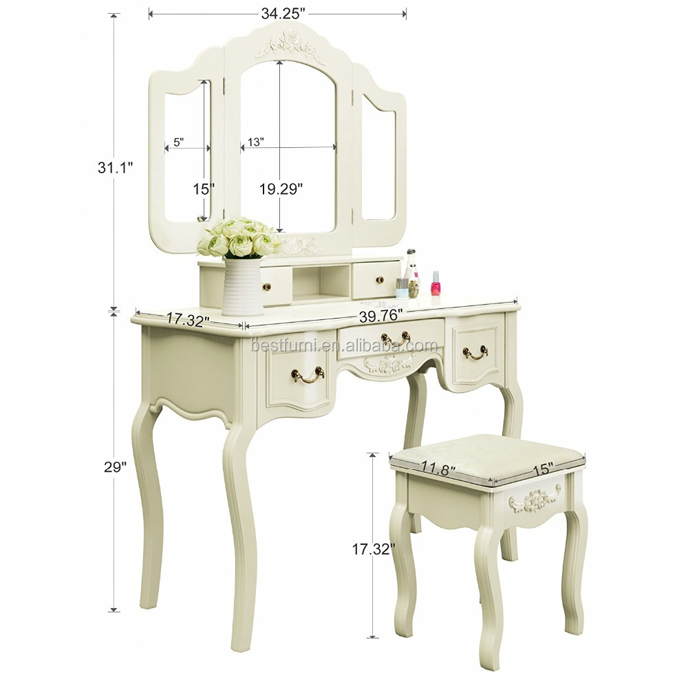 2017 French Style Ivory White Make Up Dressing Table Bedroom Furniture