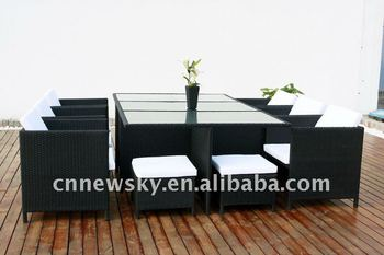 garden outdoor rattan wicker cube dining room furniture sets