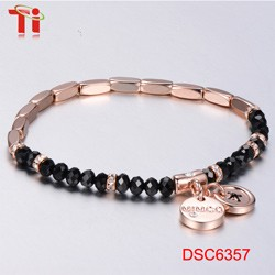 new gold bracelet designs for men anchor bracelet bangle rose gold plated AAAzircon stone inlay 316l stainless steel bracelet