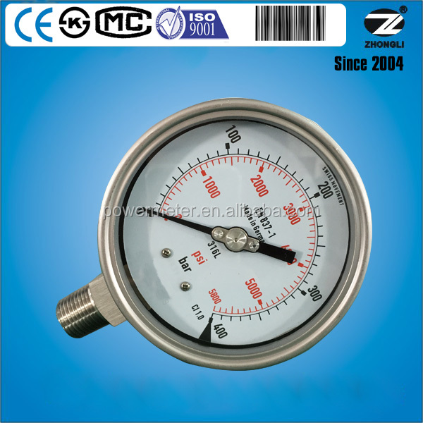 dial 100mm bottom 316L5800psi 400 bar pressure Hydraulic pressure test gauges