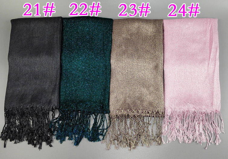 BLING BLING Cotton Turban Muslim Hijab Metallic Yarn Dubai Muslim Solid Color Hijab Scarf