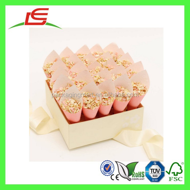 E0165 Wholesale Luxury Custom Printed Wedding Confetti Box, Cone Display Box