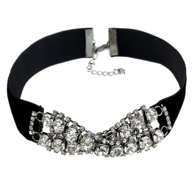 Sparkly Rhinestone Black Velvet Chokers Adjustable Chocker Necklaces Jewelry For Women