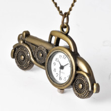 Antique Bronze Classic Cars Design Small Cute Mini Car Pocket Watch Bronze Pendant Old Car Pocket Watch For Children's Gift
