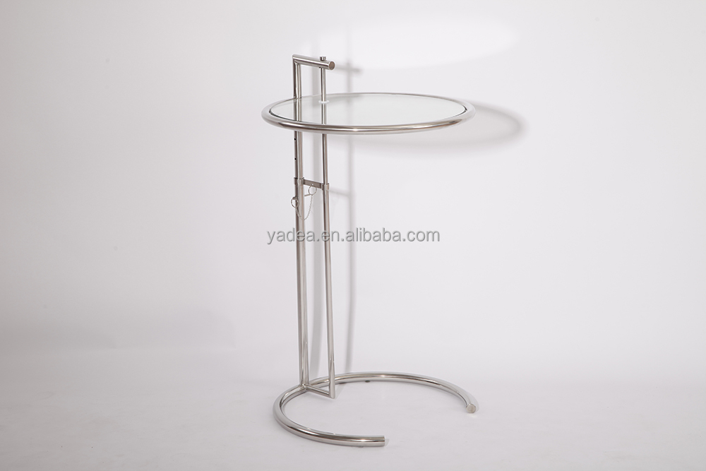 Adjustable Height Eileen Gray E1027 glass end coffee table