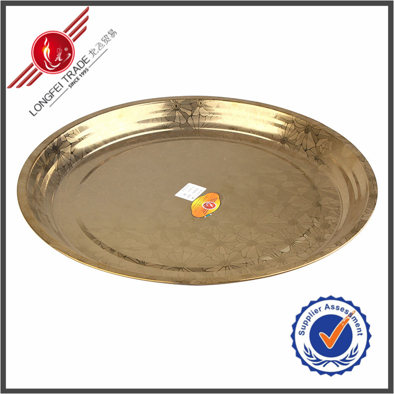 Hot Sale Dinner Set Round Shape Golden Stainless Steel Metal Plate