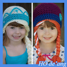 HOGIFT Children's Hand-crocheted wool hat/knitted hat with braids/elsa and anna ear warm hat