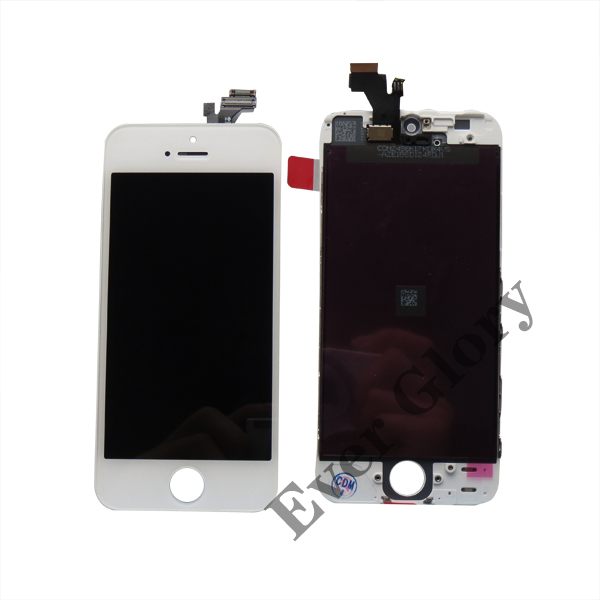 5PCS front assembly lcd display + touch screen digitizer complete for iPhone 5s 5G Black White