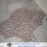Landscaping colored crushed stone pink paving fan shaped