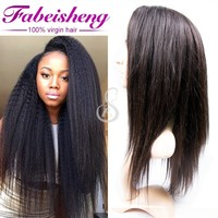 elegant Natural Hair Style Yaki Lace Hand Tied Kinky Straight Full Lace Human Hair Brazilian Wigs