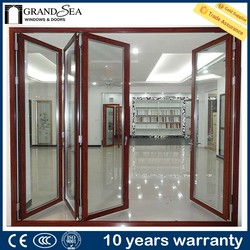 Top quality heat insulation waterproof commercial aluminum glass door frame with simple iron grill design