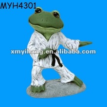 Cute green frog performing karate figure