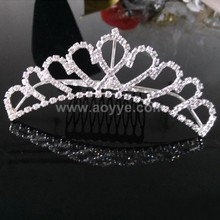 wholesale Factory cheap price rhinestone stone bridal cheap princess tiara hot sale tiaras for stock