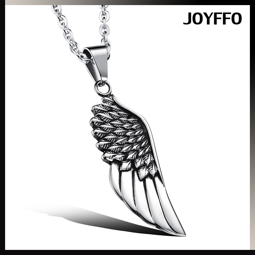 Double Sided Angel Wing Mens Necklace 316L Stainless Steel Pendant Jewellery Gift