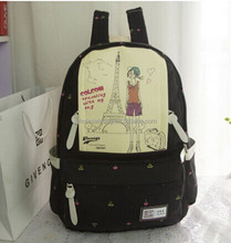 2015 Fashion Wholesale In Stock Cute Korean Style Eiffel Tower Printing Canvas Backpack Bag For Teens Girls