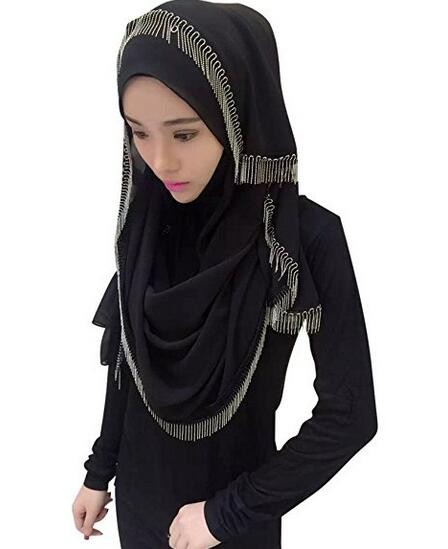 New style top quality shawl scarf women muslim fashion cotton hijab with metal